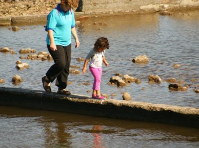 parent and child crossing ford